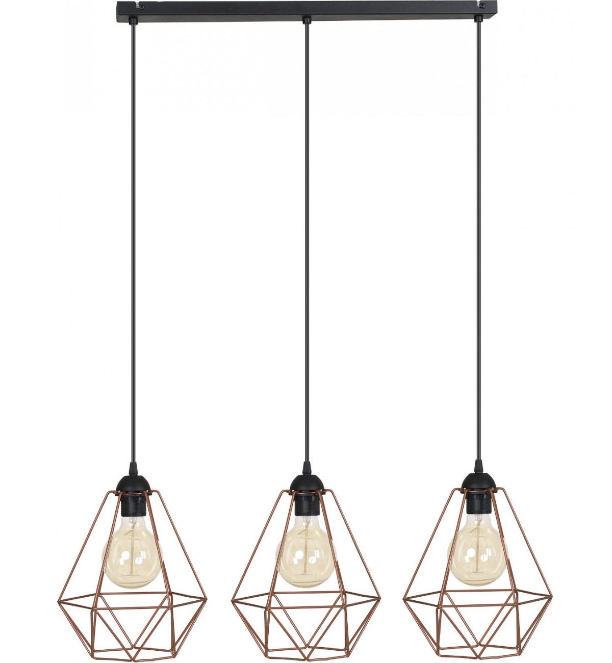 nowoczesna lampa 3 plomienna loft wiszaca retro
